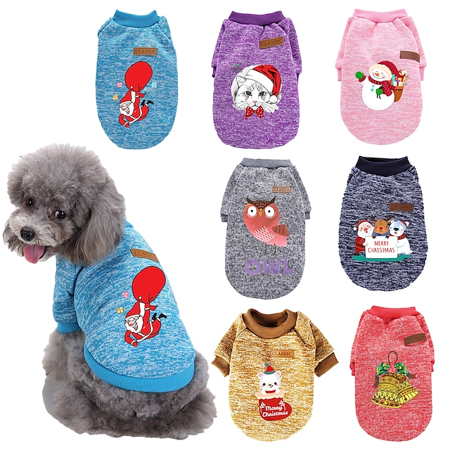 Dog Cat Costume Christmas Costume Dog clothes Cartoon Owl Merry Christmas Santa Claus Cosplay Funny Christmas Sports Winter Dog Clothes Puppy Clothes Dog Outfits Warm 1 Purple Red Costume for Girl