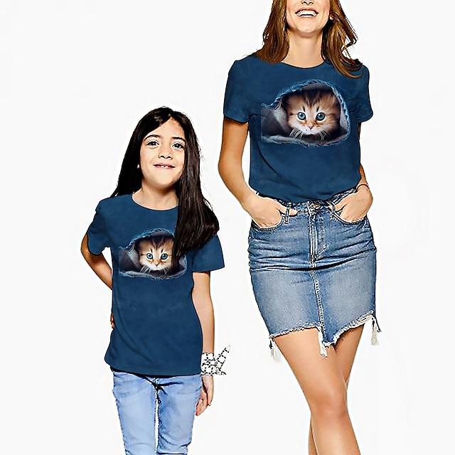 Mor og mig T-shirt Grafisk Trykt mønster Navyblå Kortærmet Aktiv Matchende tøj