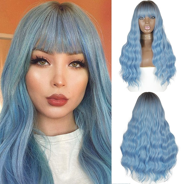 Synthetic Wig Deep Wave Neat Bang Wig Medium Length Ombre Blue Synthetic Hair Women's Cosplay Party Fashion Blue