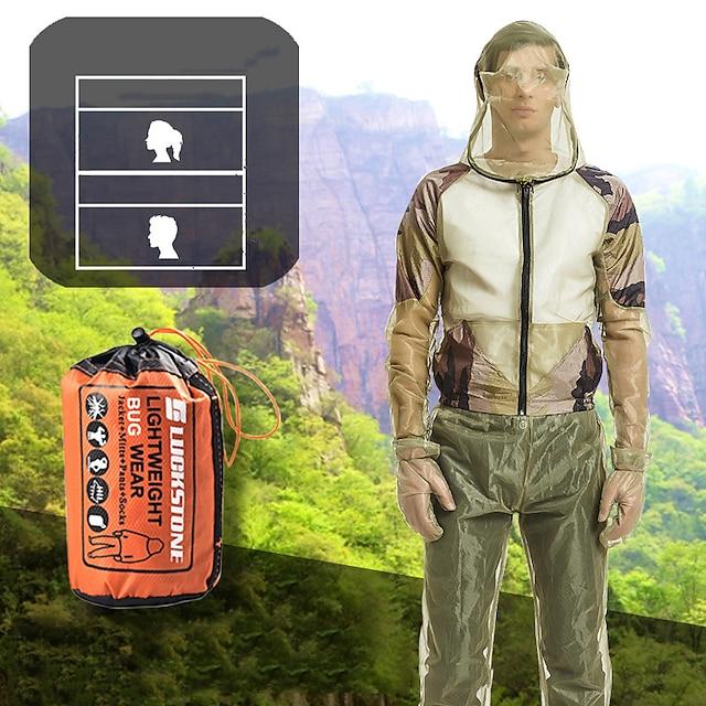 סט בגדי דיג לשני המינים מכסה המנוע חליפה דוחה יתושים בגדי מעיל אנטי נגד חרקים להגנה להגנה בחוץ