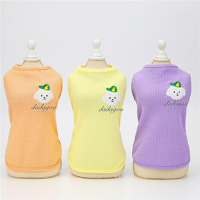Собаки Коты Жилет Животное Очаровательны Симпатичные Стиль На каждый день Одежда для собак Одежда для щенков Одежда Для Собак Дышащий Лиловый Желтый Розовый Костюм для девочки и мальчика-собаки