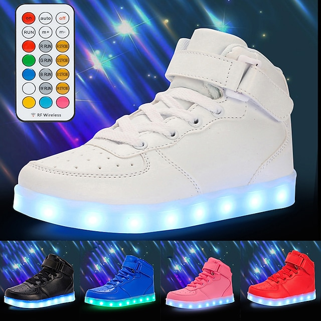 Boys' Girls' Sneakers LED Shoes USB Charging Athletic Shoes for Kids Luminous Fiber Optic Shoes PU Remote Control Little Kids(4-7ys) Big Kids(7years +) Daily Walking Shoes White Black Red Fall Winter