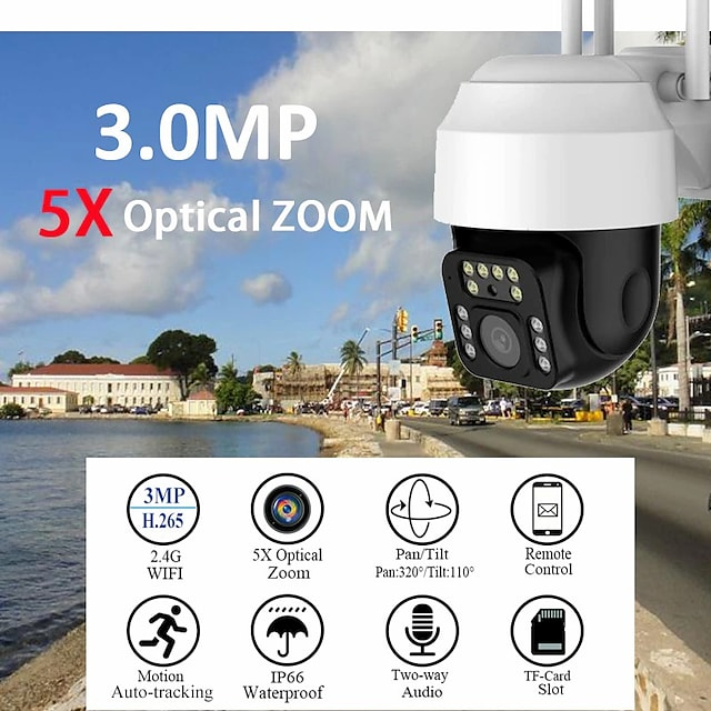 yoosee 3mp hd ptz 5x zoom security ip camera outdoor wifi waterproof h.265 1296 cctv auto tracking monitoring floodlight audio