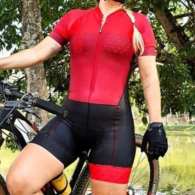 여성용 짧은 소매 철인3종경기 수트 여름 폴리에스테르 레드 패치 워크 이상한 자전거 빠른 드라이 통기성 땀 흡수 기능성 소재 스포츠 패치 워크 산악 자전거 로드 사이클링 의류 / 스트레치 / 운동용