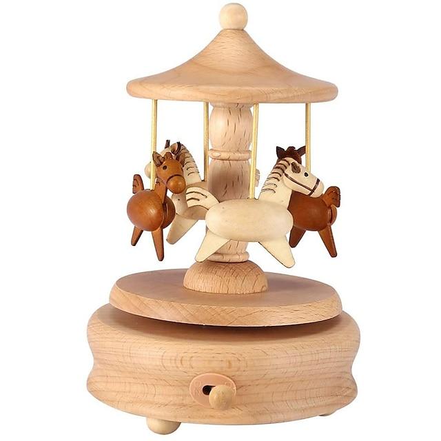 karusellimusiikkilaatikko puinen karusellin hevosmusiikkilaatikko kääntää hevosen muotoiset puukäsityöt syntymäpäivän kodinsisustukseen