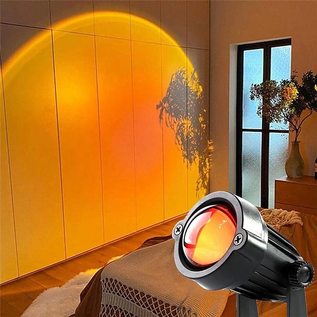 gün batımı projektör gökkuşağı projektör atmosfer gece lambası ev kahve dükkanı arka plan duvar dekorasyonu tik tok üzerinde renkli lamba youtube ig tarzı usb güç