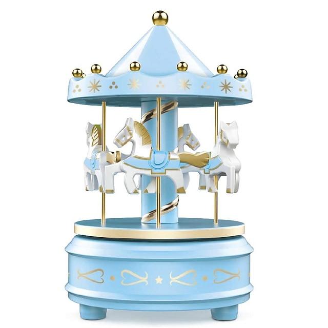 カルーセルオルゴール-簡単なひねり、ピンク/ブルー-4馬のクラシックな装飾、ベートーベンの毛皮のエリーゼのために、音楽の明かりに眠りにつくか、ケーキを飾る