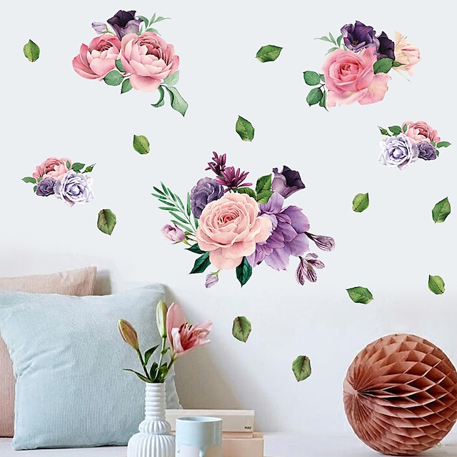 Wall Sticker Blooming Peony Cabinet TV Setting Sitting Room Porch Modern Northern European Decorative Wall Stickers