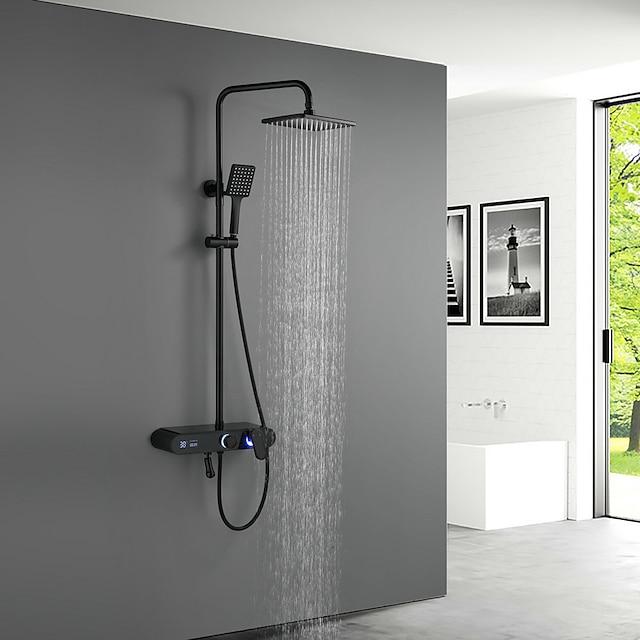 ระบบฝักบัว ชุด - รวมสายฝักบัว LED ฝักบัวสายฝน ร่วมสมัย ชุบโลหะด้วยไฟฟ้า / ทาสีเสร็จสิ้น ติดด้านนอก วาล์วเซรามิก Bath Shower Mixer Taps