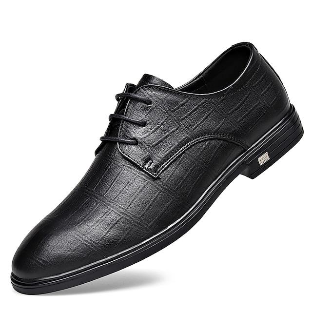 Muškarci Oksfordice Kožne cipele Tiskanje Oxfordsa Posao Vintage Klasik Dnevno Zabava i večer Mekana koža Koža Non-klizanje Nosite dokaz Čizme gležnjače / do gležnja Crn Braon Proljeće Ljeto