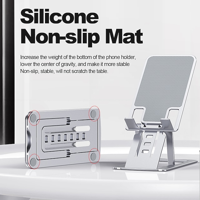 Matkapuhelintelineet Sänky Kirjoituspöytä Puhelimen haltija Puhelinpöydän jalusta Säädettävä Alumiiniseos Matkapuhelinväline iPhone 12 11 Pro Xs Xs Max Xr X 8 Samsung Glaxy S21 S20 Note20