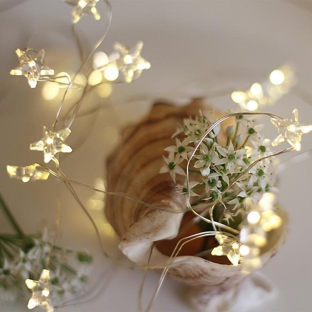 светодиодный струнный светильник 5 м 2 м звездный медный провод 20 50 светодиодов фея праздник гибкая полоса света для рождества свадьба украшение дома освещение aa аккумуляторный источник питания