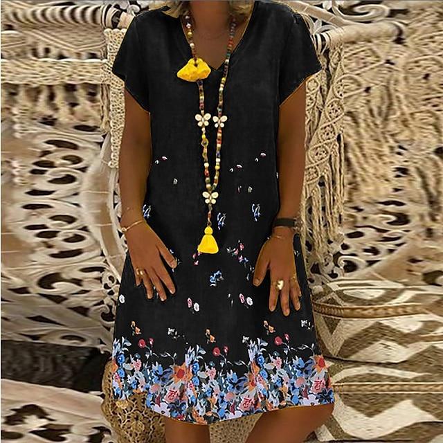 2021ebay婦人服アマゾン人気半袖Vネックフラワープリントルースコットンとリネンブリティッシュスタイルのドレス