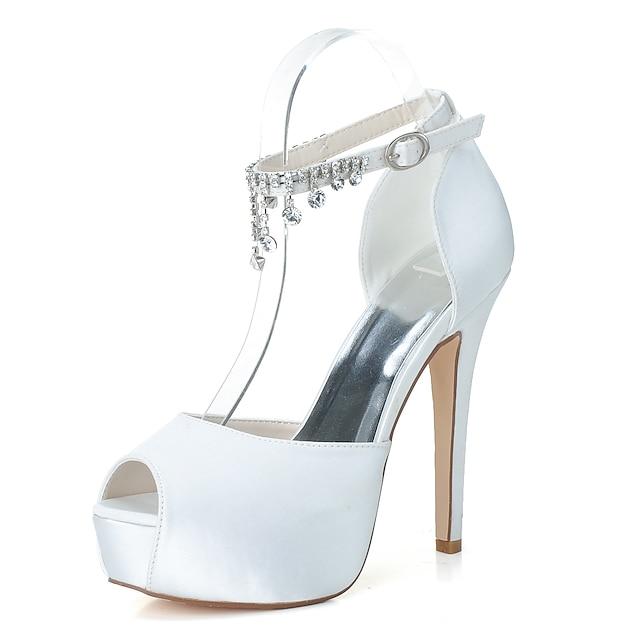 Women's Wedding Shoes Stiletto Heel Peep Toe Satin Rhinestone Solid Colored White Black Purple
