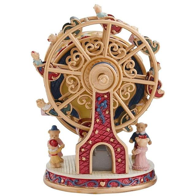 rotative grande roue ours boîte à musique cadeau exquis boîte à musique pour femmes filles garçons maman enfants cadeau d'anniversaire Saint Valentin (mélodie: château dans le ciel)