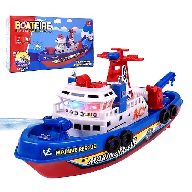 Jouet modèle de bateau de sauvetage marin, musique pour enfants pulvérisation d'eau légère sauvetage marin électrique modèle de bateau d'incendie jouet d'éducation grands cadeaux d'anniversaire de