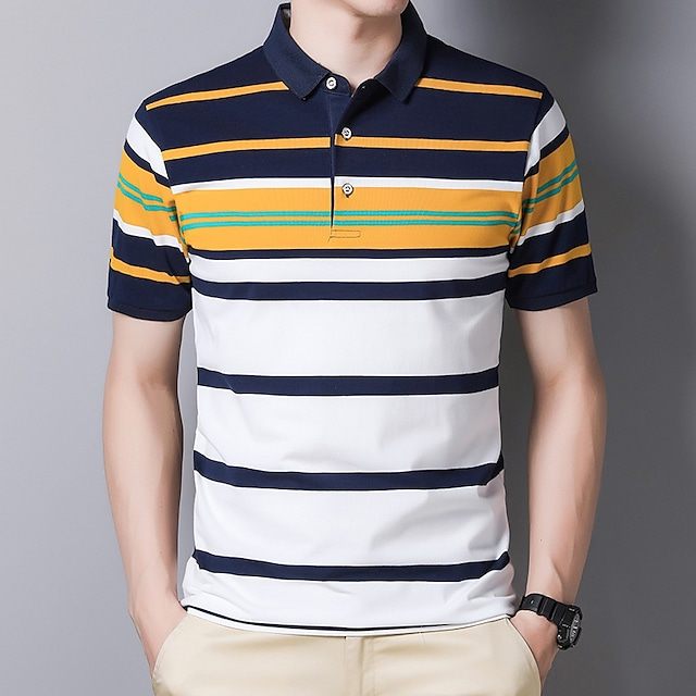 Men's T shirt Hiking Tee shirt Hiking Polo Shirt Short Sleeve Tee Tshirt Top Outdoor Quick Dry Lightweight Breathable Sweat wicking Autumn / Fall Spring Summer Elastane Cotton White Yellow Red