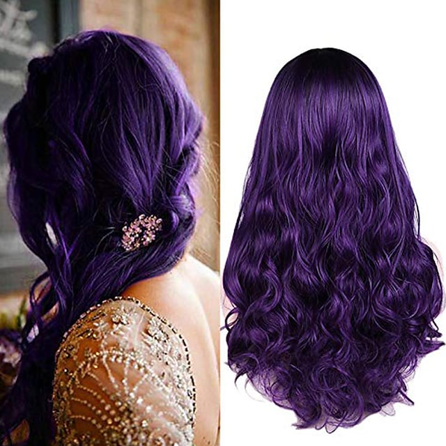 Synthetic Wig Deep Wave Middle Part Wig Medium Length Black / Purple Synthetic Hair Women's Cosplay Party Fashion Black Purple