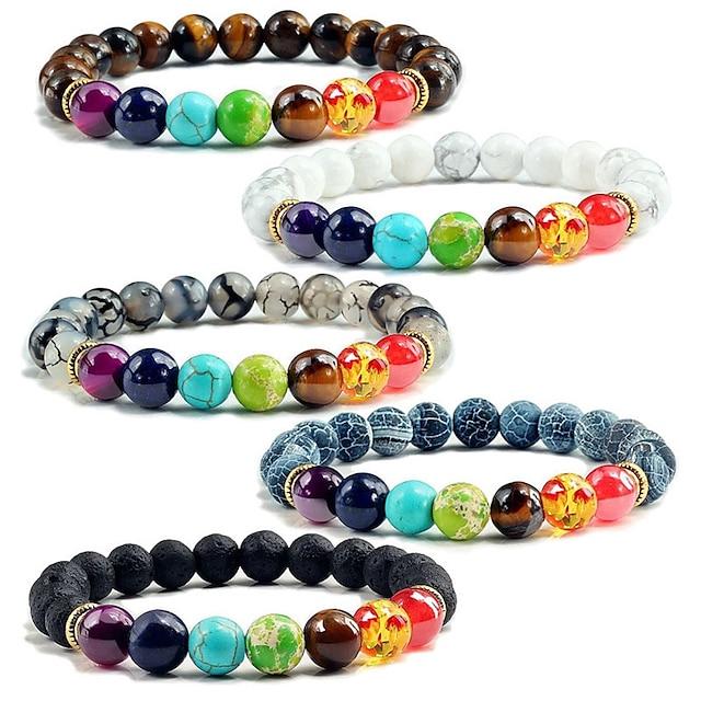 states 8mm colorful volcanic stone copper bracelet colorful seven chakra energy yoga bead bracelet