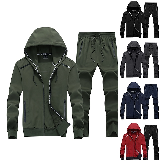 Men's 2 Piece Full Zip Tracksuit Sweatsuit Jogging Suit Casual Long Sleeve Nylon Thermal Warm Breathable Fitness Gym Workout Running Sportswear Solid Colored Plus Size Jacket Track pants Black Red