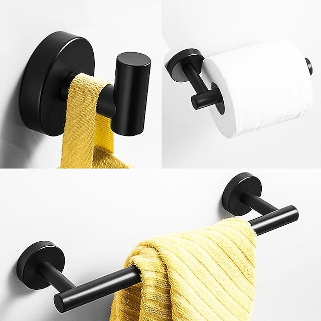 badeværelse tilbehør rustfrit stål materiale enkelt håndklæde kappe krog og toliet papaer holder malet finish matt sort