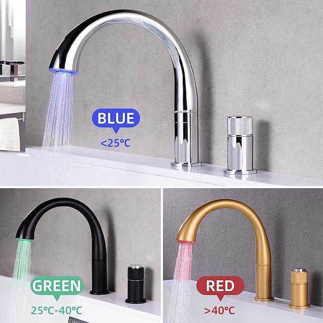 Badrum Tvättställ Kran - Roterbar / LED Nickelborstad / Elektropläterad / Målade ytor Hål med bredare avstånd Två handtag två hålBath Taps