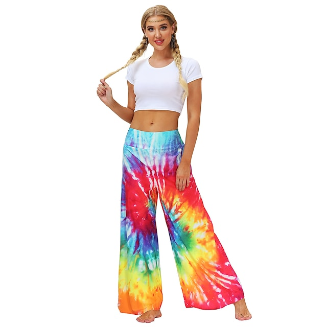 Women's Yoga Pants Wide Leg Bottoms Quick Dry Breathable Tie Dye Bohemian Red Yoga Fitness Gym Workout Summer Sports Activewear / Casual / Athleisure
