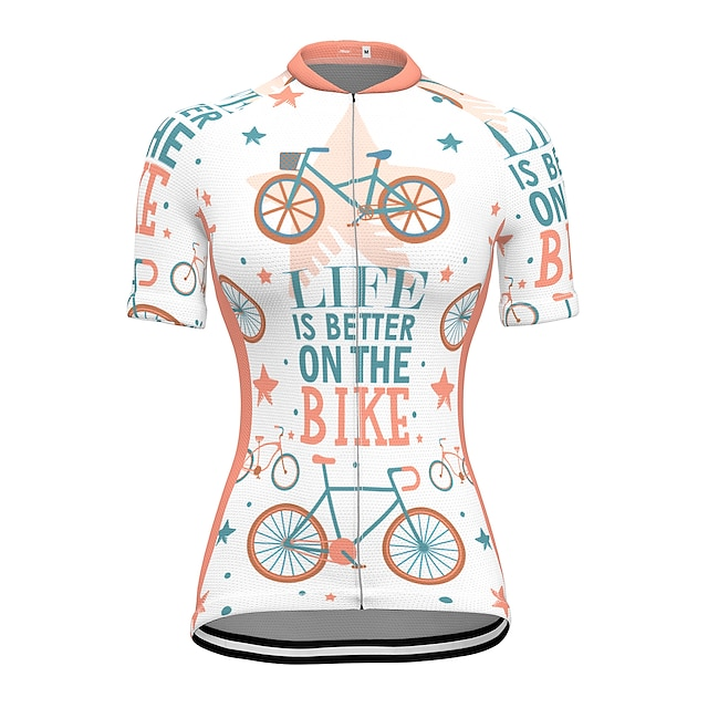 21Grams Women's Short Sleeve Cycling Jersey Summer Spandex Polyester White Bike Jersey Top Mountain Bike MTB Road Bike Cycling Quick Dry Moisture Wicking Breathable Sports Clothing Apparel / Stretchy