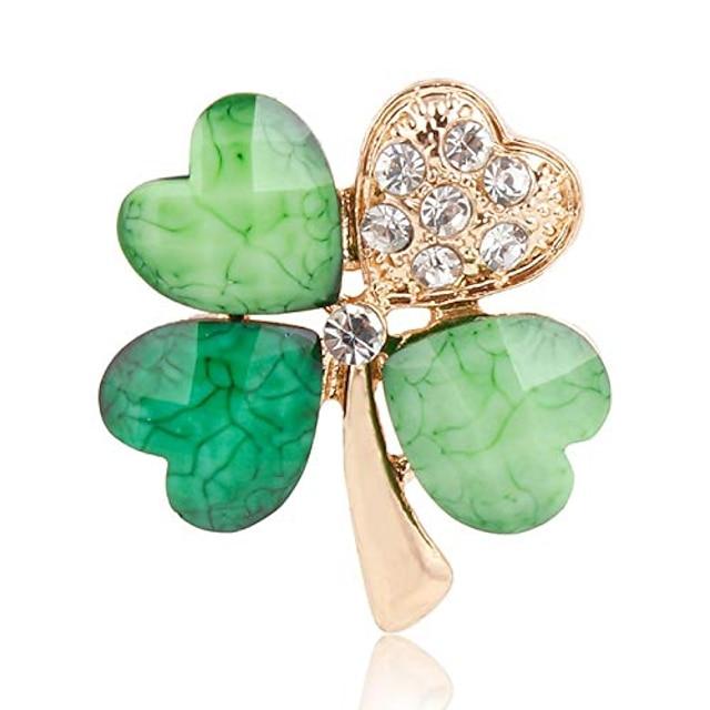 가을 물 녹색 네 잎 클로버 모조 다이아몬드 옷깃 핀 브로치 여성 남성 모듬 디자인