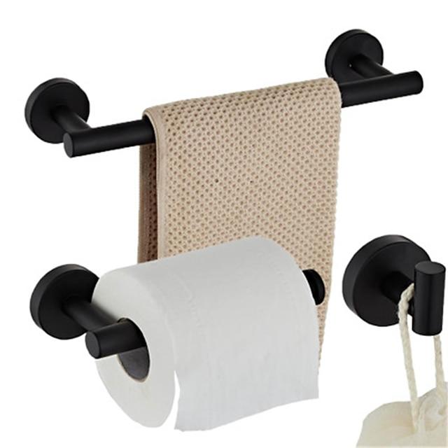 مجموعة ملحقات الحمام من الفولاذ المقاوم للصدأ المطلي بالكهرباء تتضمن خطافًا لرف المناشف وحامل ورق التواليت مثبت على الحائط 3 قطعة