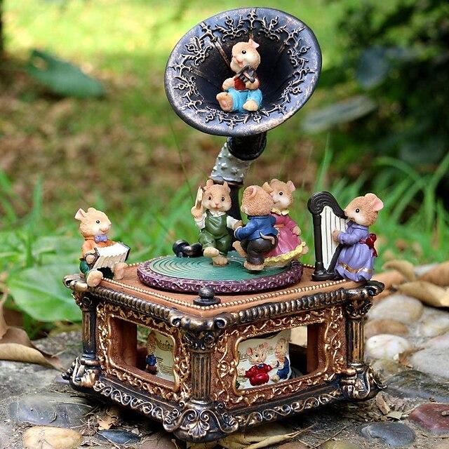 Vintage mouse fonograf muzică cutie muzicală mecanică clasică platan rotativ pentru femei fete mama decor acasă ornament cadou ziua de naștere cadou Valentine (cântec de leagăn, clasic)