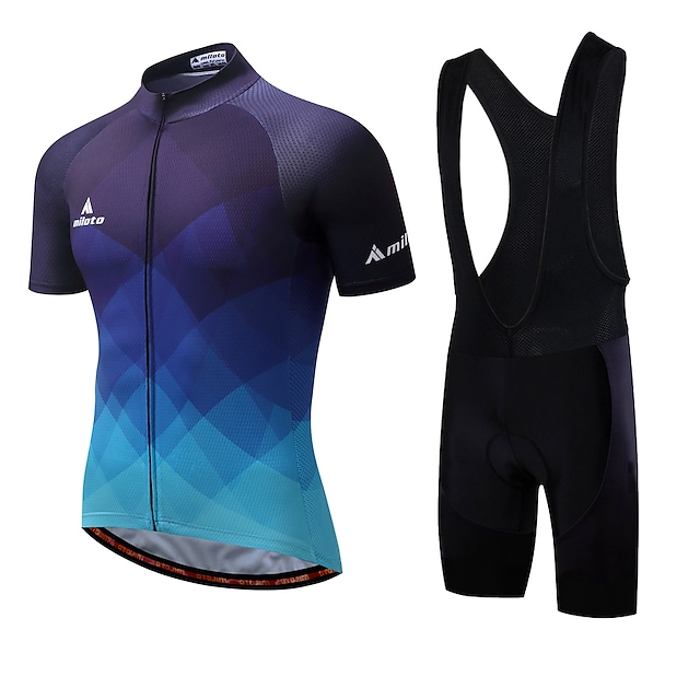 Miloto Men's Short Sleeve Cycling Jersey with Bib Shorts Summer Spandex White Purple Yellow Plaid Checkered Gradient Bike Clothing Suit 3D Pad Quick Dry Breathable Reflective Strips Back Pocket Sports