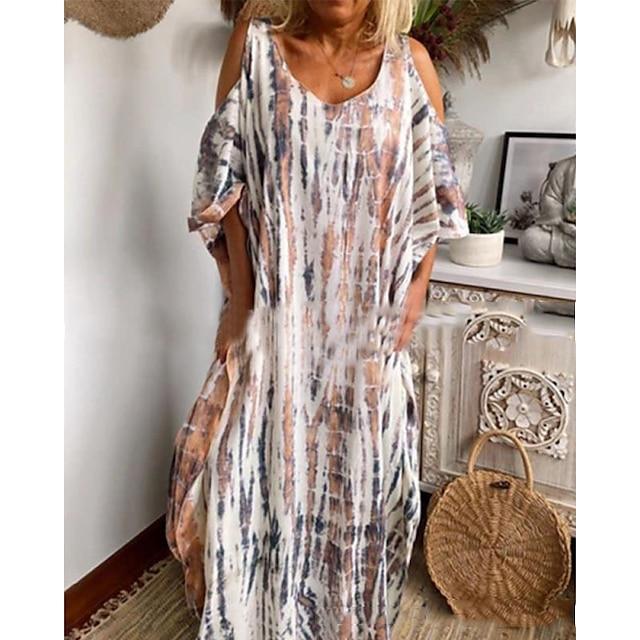 2021 ملابس نسائية جديدة للربيع والصيف eaby ترغب في طباعة قائمة بذاتها صبغ التعادل بدون حمالات تنورة طويلة فضفاضة