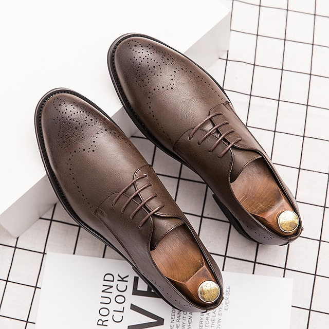 Men's Oxfords Leather Shoes Printed Oxfords Business Vintage Classic Daily Party & Evening Nappa Leather Cowhide Booties / Ankle Boots Black Brown Spring Summer