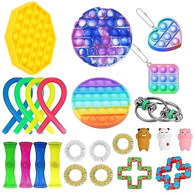 24 pcs Fidget Toys Anti Stress Set Stretchy Strings Push Pop Gift Pack Adults Children Squishy Sensory Antistress Relief Figet Toys