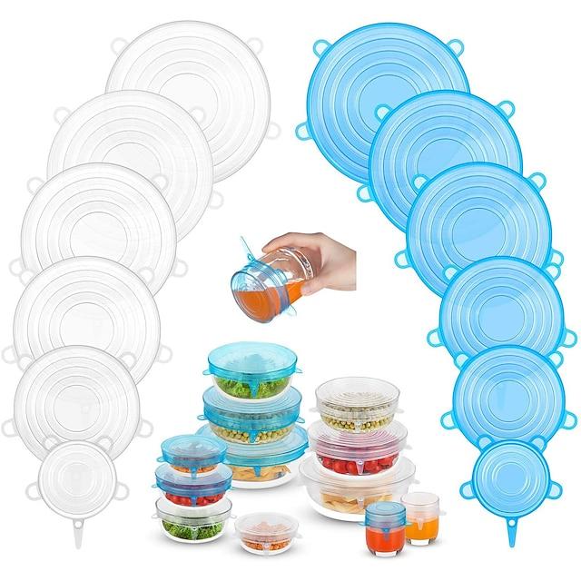 silikon streç kapaklar 2 renk 24 paket sıfır atık yeniden kullanılabilir silikon kap kapağı artık yiyecek ve meyve veya sızdırmazlık kabı için 6 12 paket