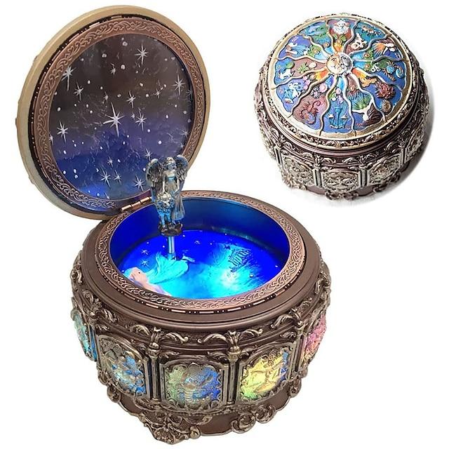 cutie muzicală de epocă cu constelații care se rotesc zeiță lumini led sclipitoare din rășină mecanism sculptat cutie muzicală cu sankyo 18 note de lichidare a semnelor cadoului zodiacal pentru ziua