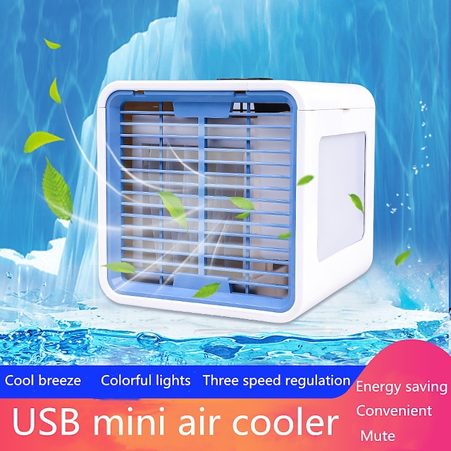 mini portable air conditioner 7 colors light conditioning humidifier purifier usb  air cooler fan desktop small air conditioning