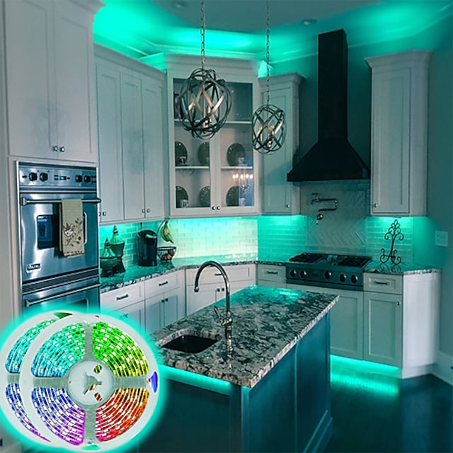 bande LED lumières application wifi contrôle intelligent 5050 2x10m 65ft rgb bande lumineuse LED intelligente avec contrôleur IR 24 clés ou kit adaptateur dc12v