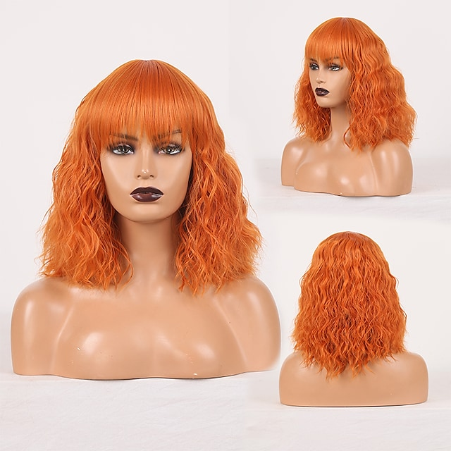 Perruque de cosplay Perruque Synthétique Ondulé Boucle lâche Coupe Droite Perruque Orange Cheveux Synthétiques Femme Sans odeur Design à la mode Doux Orange