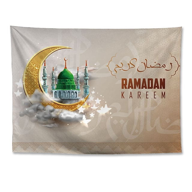 Eid Mubarak Islamic Muslim Ramadan Wall Tapestry Art Decor Blanket Curtain Hanging Home Bedroom Living Room Decoration Polyester Moon Green Castle