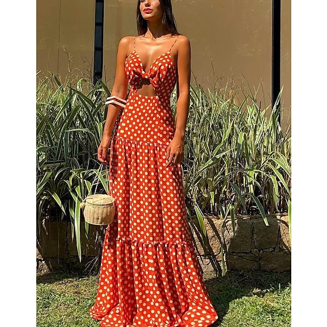 Γυναικεία Φόρεμα ριχτό από τη μέση και κάτω Μακρύ φόρεμα Κοντομάνικο Συμπαγές Χρώμα Άνοιξη Καλοκαίρι Κομψό & Πολυτελές 2021 Τ M L XL / Αργίες