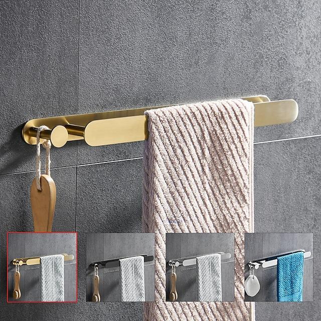 πολυλειτουργική πετσέτα με γάντζο, ανοξείδωτο ατσάλι 304 από επιχρυσωμένο, 4 φινίρισμα, χρυσό, βουρτσισμένο, μαύρο, γυαλισμένο καθρέφτη, μπάνιο και ράφι κουζίνας, 40cm, χωρίς διάτρηση