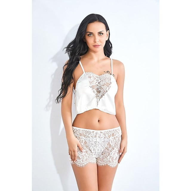 Women's Women Female Normal Backless Lace Hole Sexy Seperate Bodies Sexy Lace Lingerie - Spandex Date Valentine's Day Solid Colored Bras & Panties Sets White S M L