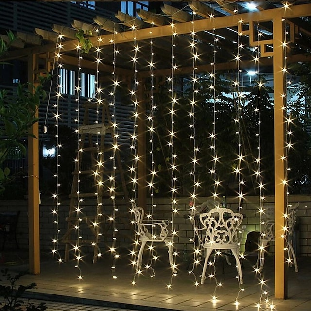 ηλιακό φωτιστικό κορδόνι εξωτερικού χώρου γιρλάντα φώτα εξωτερικού χώρου για χριστουγεννιάτικα φωτιστικά παραθύρου 3x3m για αίθριο αυλή κουρτίνα λαμπτήρα στον τελευταίο όροφο