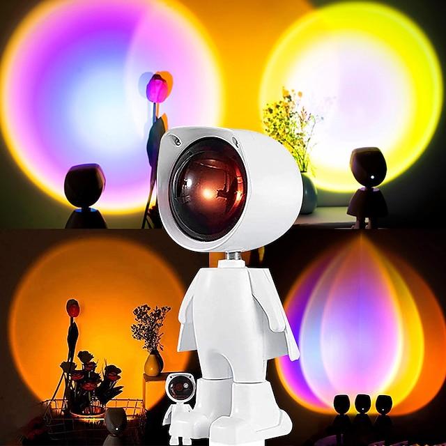 gün batımı projeksiyon lambası led robot gece lambası günbatımı gökkuşağı tiktok ışık usb masa lambası işletmek tiktok arka plan duvar lambası atmosfer