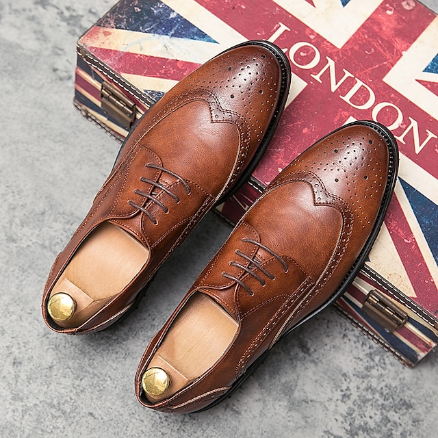 Men's Oxfords Printed Oxfords Business Vintage Classic Daily Party & Evening Nappa Leather Cowhide Non-slipping Wear Proof Booties / Ankle Boots Black Brown Spring Summer