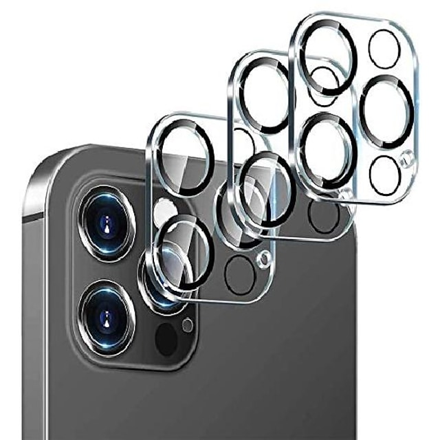 Custodia protettiva per fotocamera da 3 pezzi compatibile con iphone 12pormax custodia protettiva per fotocamera in vetro temperato per iphone 11 pellicola protettiva per fotocamera posteriore con lente posteriore amichevole per iphone 12