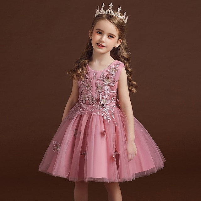 παιδικά φορέματα κορίτσια φλοράλ πάρτι πριγκίπισσα πεταλούδα γάμος κεντημένο τούλι τόξο λευκό κόκκινο κοκκινωπό ροζ μόδα γλυκά φορέματα 3-12 χρόνια