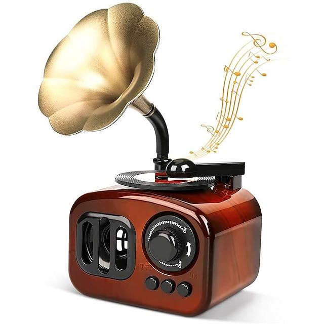 Gramophone Music Box Vintage Music Box Mini Phonograph Shaped Clockwork Music Box Vintage Home Decor Antique Music Box for Christmas/Birthday/Valentine's Day, Brown